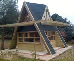 Cabin Design, Roof Design, House Design, A Frame House Plans, A Frame Cabin, Tiny House Cabin, Cabin Homes, Wooden House, Little Houses