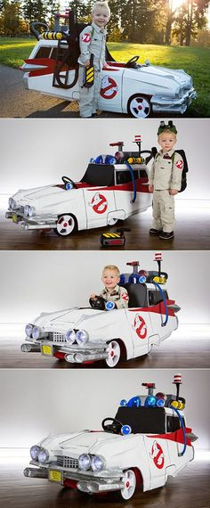 Little Ghostbuster with his Ecto-1 push-car. 2