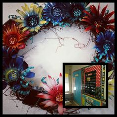 Beautiful custom teacher wreaths for the classroom. Metal flowers. By gardendreamsdecor.com