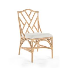 If only every season was patio season. The KOUBOO Rattan Chippendale Upholstered Dining Chair - Set of 2 softens the blow of cold days by bringing the. Rattan Dining Chairs, Solid Wood Dining Chairs, Rattan Furniture, Upholstered Dining Chairs, Dining Chair Set, Table And Chairs, Side Chairs, Small Chairs, Coastal Furniture