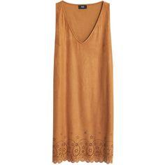 Mango Openwork Detail Dress , Medium Brown ($52) ❤ liked on Polyvore featuring dresses, medium brown, beige maxi dress, floral midi dress, sleeveless shift dress, maxi dress and floral dress