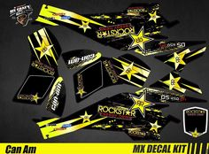Kit Déco Quad / Atv Decal Kit Can-Am DS 450 - Rockstar Can Am, Quad, Iron Man Birthday, Motogp, Atv, Decals, Bike, Stickers, Canning