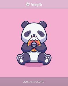Cute panda eating doughnut cartoon illus... | Premium Vector #Freepik #vector