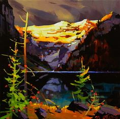"Golden Light Break, Lake Louise - Study by Michael O'Toole Acrylic ~ 12"" x 12"""