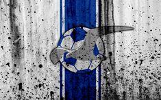 Download wallpapers 4k, FC Haugesund, grunge, Eliteserien, art, soccer, football club, Norway, Haugesund, logo, stone texture, Haugesund FC