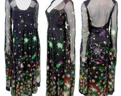 1970s Vintage Pauline Trigere Silk Fireworks Dress