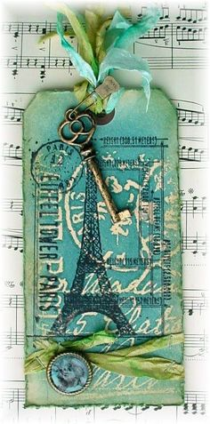 Trash to Treasure Art: CCC #11 and Simon Says Paris Cards, Tim Holtz, Handmade Tags, Vintage Tags, Trash To Treasure, Label Tag, Tag Art, Artist Trading Cards, Scrapbook Cards