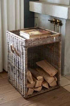 Rustic Rattan Fire Wood Basket - Fireplace baskets and sets - Storage items - Storage & Hanging items - Accessories - Collection Rustic Baskets, Wooden Basket, Wood Storage, Storage Baskets, Aspen, Rattan, Firewood Basket, Small Mason Jars, Barn Wood Signs