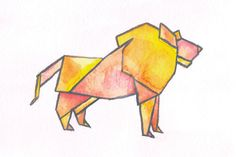 Origami Lion Watercolor Print by MGardeski on Etsy