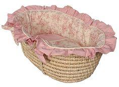 A pink toile Moses basket- so precious!!
