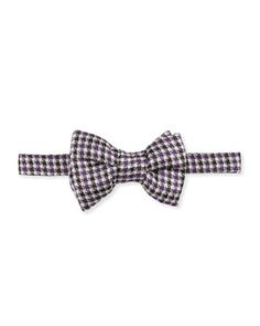 Tom Ford Houndstooth+Stripe+Bow+Tie,+Purple+by+TOM+FORD+at+Neiman+Marcus.