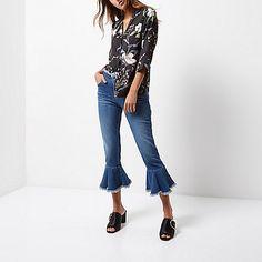 Mid blue wash frill hem cropped jeans - boyfriend / slouch jeans - jeans - women