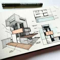 Elevation and perspective drawing example Architecture Concept Drawings, Architecture Sketchbook, Architecture Panel, Interior Architecture, Library Architecture, Sketches Arquitectura, Elevation Drawing, Perspective Drawing, Music Library