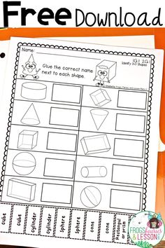 Download 3D or solid shapes worksheets and activities on cube ...