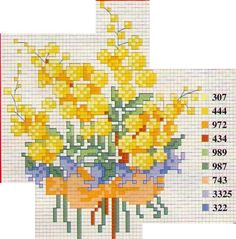 Bouquet de mimosa Beaded Cross Stitch, Cross Stitch Flowers, Cross Stitch Patterns, Crochet Patterns, Images Aléatoires, Hello Kitty, Scooby Doo, Yellow Flowers, Projects To Try