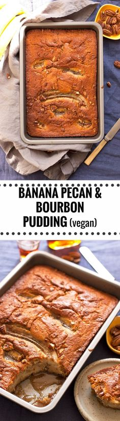 Super tasty recipe for banana pecan bourbon pudding with hidden caramel sauce underneath. Easy to make, delicious treat for the whole family! | via@ annabanana.co