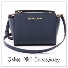 """Michael Kors Selma Saffiano Mini Messenger Bag Navy blue Genuine Michael Kors Selma Saffiano leather mini messenger crossbody bag. Only used a couple of times. In excellent condition. Clean inside, no marks anywhere. Like new! Comes with price tag. Original price $178. -100% Cow Leather -Adjustable Strap: 24-26"""" -Interior: Three Card Holders- Bag size -8.5 X 5.5 X 3"""" -Top Zip -100% Polyester Lining  -Imported Michael Kors Bags Crossbody Bags"""