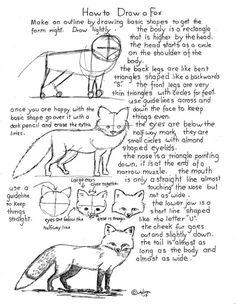 Basic Drawing Tutorial For Elementary – Menlo Park Art Fox Drawing, Basic Drawing, Drawing Skills, Drawing Lessons, Drawing Techniques, Drawing Sketches, Painting & Drawing, Sketching, Woman Drawing