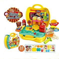 Deardeer Kids Play Dough Cinema Snack Bar Play Set 35 Pcs Pretend Play House Toy Kit with Douth and Moulds in a Portable Case Toys For Boys, Gifts For Boys, Cooking Toys, Pretend Play Kitchen, Tools And Toys, Snack Bar, Classic Toys, Diy Toys, Kids Playing