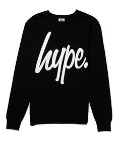 Hype Black Crew Neck Jumper with White Script | Shop Men's Clothing at The Idle Man  Available from www.justhype.co.uk