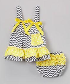 Gray Zigzag & Yellow Swing Top & Diaper Cover - Infant by Tutus by Tutu AND Lulu #zulily #zulilyfinds
