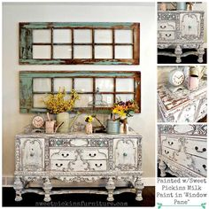 Refinished antique buffet painted with Sweet Pickins Milk Paint in Window Pane. This thing is amazing!!