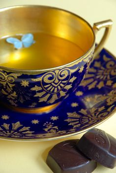 4:00 Tea... Coalport - Two wonderful things... antique cobalt and gold Coalport teacup/saucer and fine chocolates!