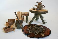 fairy furniture- love the axe to chop wood! Awesome!