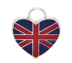 4 Silver Metal Enamel UK HEART FLAG Charms or Pendants by SmartParts, $4.99