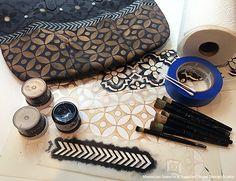 DIY Stencil Tutorial: Bohemian Tote Bag Painted with Royal Design Studio Moroccan Stencils Wall Stencil Designs, Stencil Wall Art, Stencil Fabric, Stencil Diy, Stencil Painting, Painting Patterns, Moroccan Style Bedroom, Moroccan Home Decor, Moroccan Design