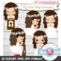 Clipar First Communion Girl Kawaii 5 de SweetieInk en Etsy