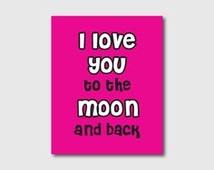 Kid's Wall Art  I love you to the moon and by SusanNewberryDesigns, $15.00