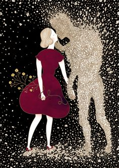 Korea-based artist Hana Jang tell a tale of young love, innocence, and loss where the main subject, a single female character, experiences a relationship with a mysterious male figure composed of gold bubbles.