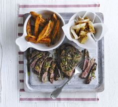 Chimichurri steaks with sweet potato fries & onion rings. Try steak, chips and onion rings without the guilt with flash-fried minute steak and baked sweet potato chips