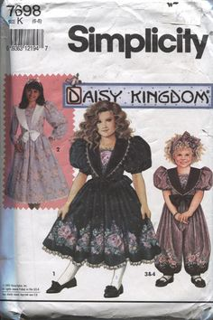 Simplicity 7698, Daisy Kingdom Girl's Dress and Romper Pattern Sizes 6 to 8