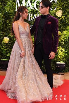 KathNiel at Star Magic Ball, Source by magic Ball gowns Debut Gowns, Debut Dresses, Kathryn Bernardo, Js Prom Gown Style, Star Magic Ball Gowns, Coachella Dress, Nude Gown, Sage Green Dress, Bohemian Gown