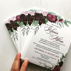 Watercolor invitation made in combination with burgundy envelope. It was a perfect match 🥰 Pocket Invitation, Invitation Envelopes, Floral Invitation, Unique Invitations, Custom Wedding Invitations, Wedding Stationary, Black Envelopes, Watercolor Invitations, Perfect Match