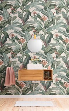 The four new mural designs released today by MuralsWallpaper have been created using detailed vintage paintings by Pierre-Joseph Redouté, which are considered masterpieces of botanical artwork. Accent Wallpaper, Chic Wallpaper, Green Wallpaper, Wall Wallpaper, Pattern Wallpaper, Wallpaper Ideas, Bathroom Wallpaper Peach, Motif Tropical, Tropical Design