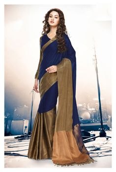 Buy Navy Blue Cotton Saree With Blouse 69923 with blouse online at lowest price from vast collection of sarees at Indianclothstore.com.
