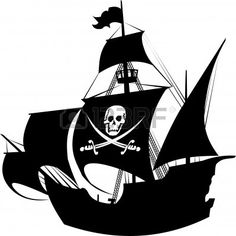 silhouette of a pirate ship with the image of a skeleton on the sail; Stock Photo - 9693265