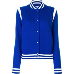 Givenchy Wool Bomber (3.705.870 COP) ❤ liked on Polyvore featuring outerwear, jackets, blue, blue wool jacket, givenchy jacket, royal blue jacket, tailored jacket and bomber jackets