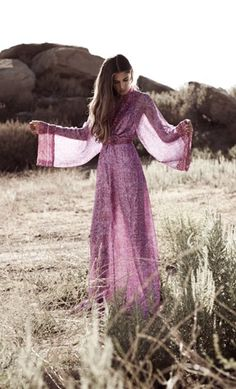 "Boho kimono-sleeve empire maxi dress of a tonal pinks and mauves exotic print sheer. By Winter Kate, the ""Kamakura Dress.""..."