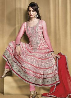 Pink Net With Amazing Embroidered Anarkali Suit
