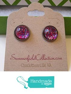 "Glitter Glass Stud Earrings 1/2"" Magenta Pink http://www.amazon.com/dp/B017Y6FQW4/ref=hnd_sw_r_pi_dp_zmLrwb09SFAKK #handmadeatamazon"