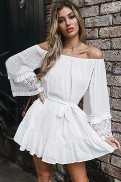 One Shoulder Casual White Dress