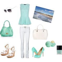 """""""Mint and white"""" by mdharding on Polyvore"""