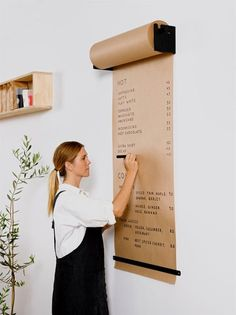 The Studio Roller is an innovative way to display information in your café, office or home. The simple and functional wall-mounted bracket seamlessly dispenses kraft paper to write ideas, menus, specials and daily tasks.George & Willy Studio Roller and F Butcher Paper, Black Walls, Home Office Design, Office Designs, Office Home, Bar Designs, Office Art, Home Organization, Business Office Organization