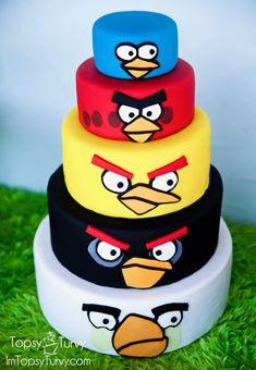 Pastel cumpleaños de Angry Birds.