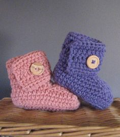 Handmade Crochet Baby Shoes with Adjustable Wooden Button Closure - Made to Order - Sizes 0-12 Months