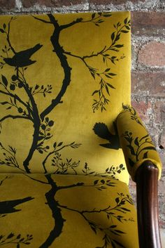 Timorous Beasties Fabric - armchair upholstered in mustard yellow Birdbranch Stripe Velvet Car Seat Upholstery, Cleaning Car Upholstery, Furniture Upholstery, Upholstered Chairs, Clean Upholstery, Ercol Chair, Paint Upholstery, Upholstery Fabrics, Furniture Refinishing
